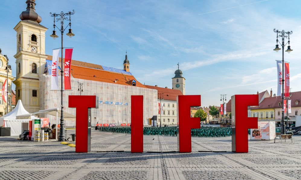 Transilvania International Film Festival - TIFF - sign in the Large Square in Sibiu, Romania