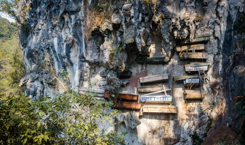 Hanging Coffins. Traditional and cultural burial method for locals