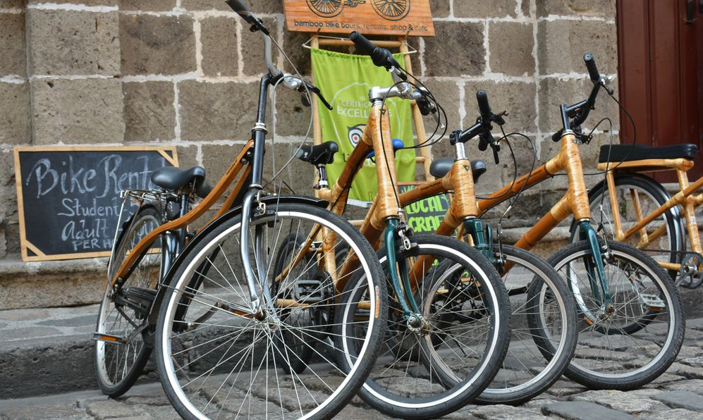 Bambikes (Bamboo bikes) parked outside at Intramuros