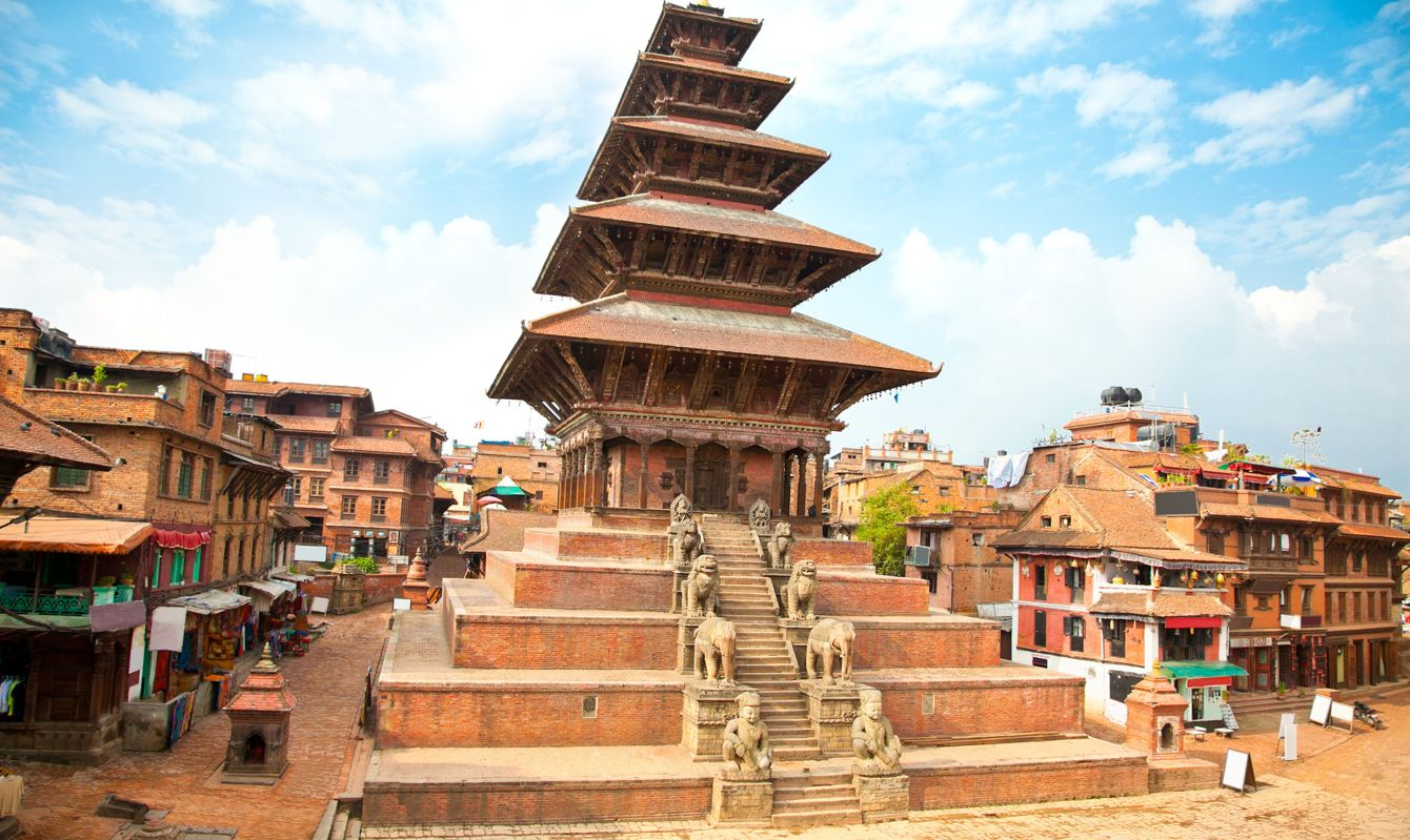 Nyatapola Pagoda on Taumadhi Square in Bhaktapur, Kathmandu Valley, Nepal.