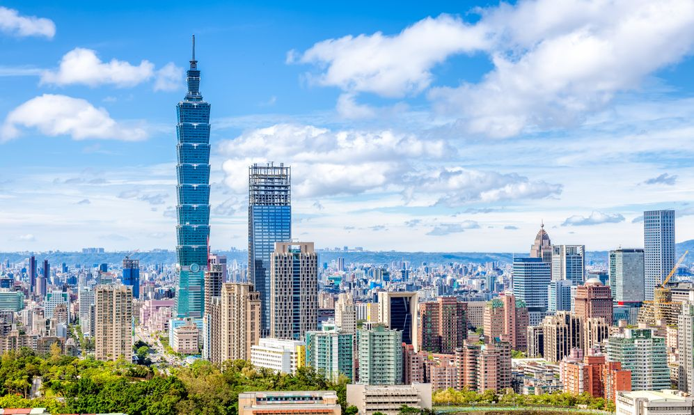 Aerial view of Financial district in Taipei , Taiwan