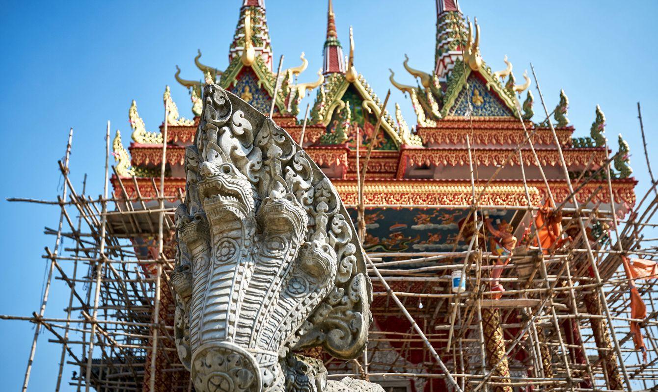 Snake statue at the Cambodian Buddhist Monastery in Lumbini, Nepal