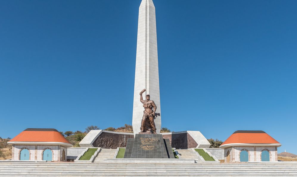 A view of Heroes Acre, an official war memorial of the Republic of Namibia to the south of Windhoek, the capital city of Namibia