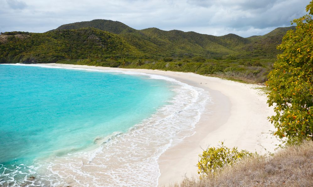 The pristine and hard to reach beach in the Rendezvous Bay in Antigua.