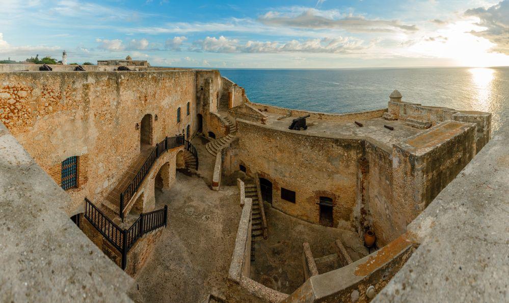 San Pedro de La roca fort inner yard and walls, sunset view, Santiago De Cuba, Cub
