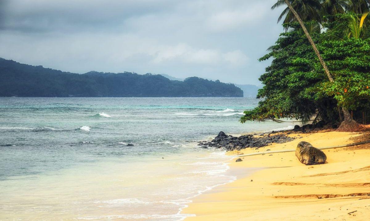 A tropical beach of Sao Tome and Principe.