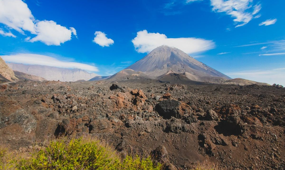 Pico Grande of volcanic Mt. Fogo in Cape Verde
