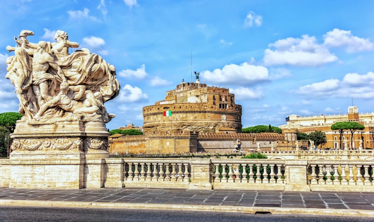 Castel Sant'Angelo from the Bridge called Ponte Vittorio Emanuele II, Rome, Italy