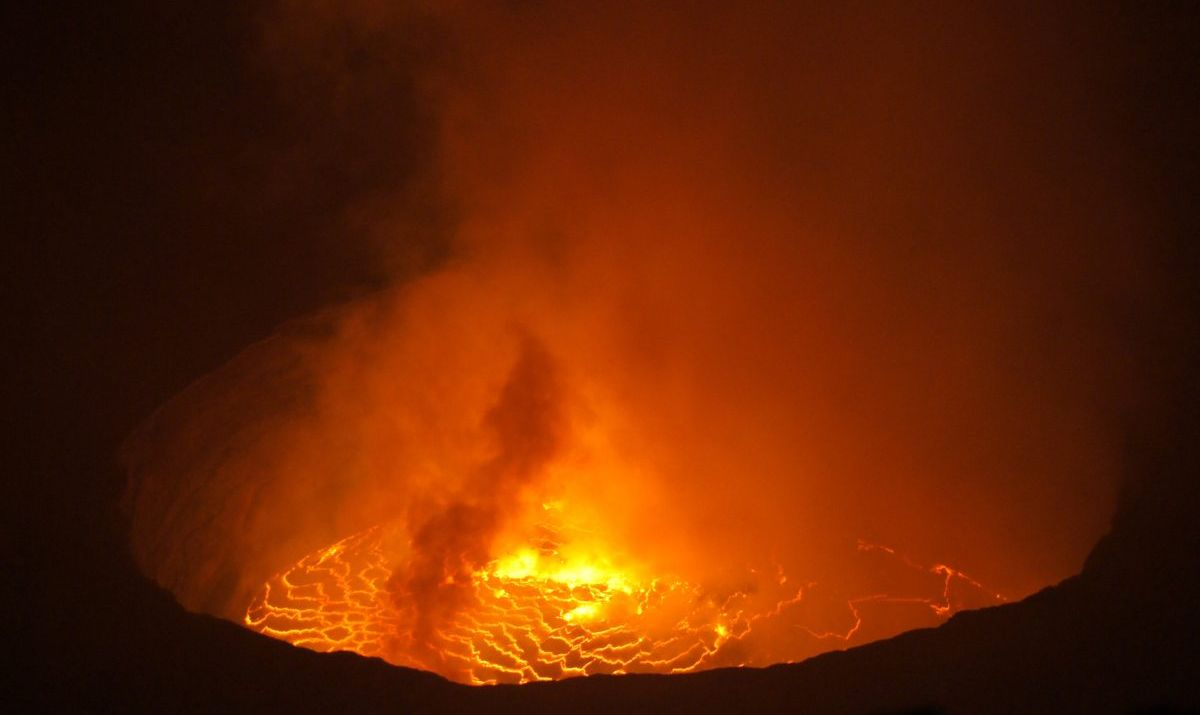Nyiragongo's volatile crater lake filled with lava.