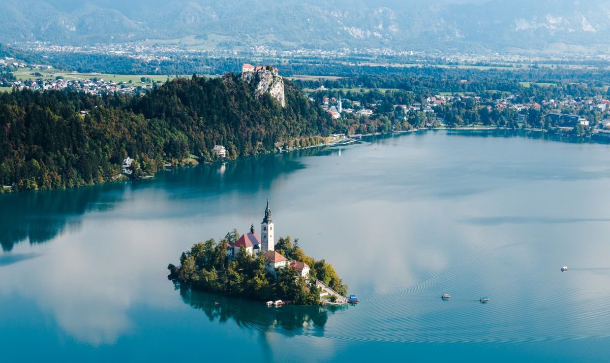 A view of Bled and its island church and tower.