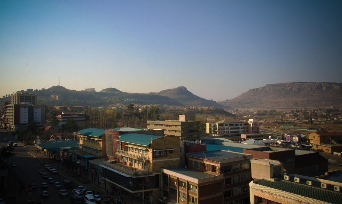 A birds-eye view of Maseru, the capital city of Lesotho.