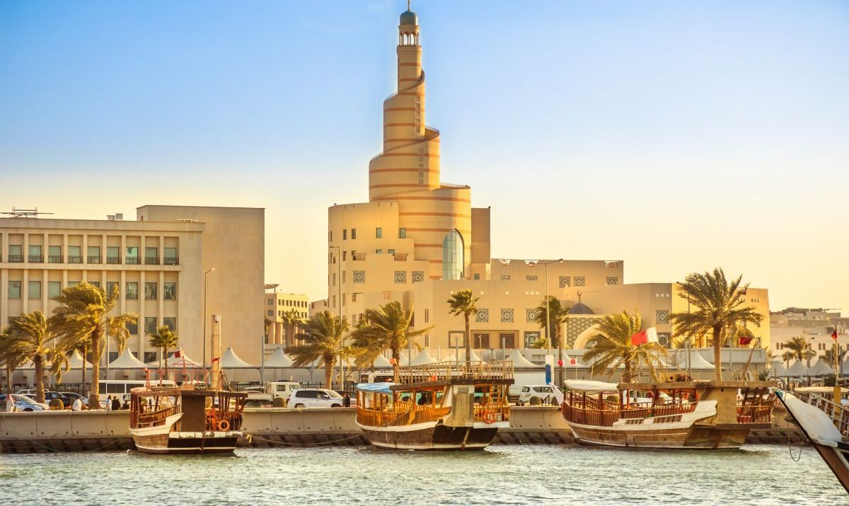 Dhow Harbor and Doha mosque