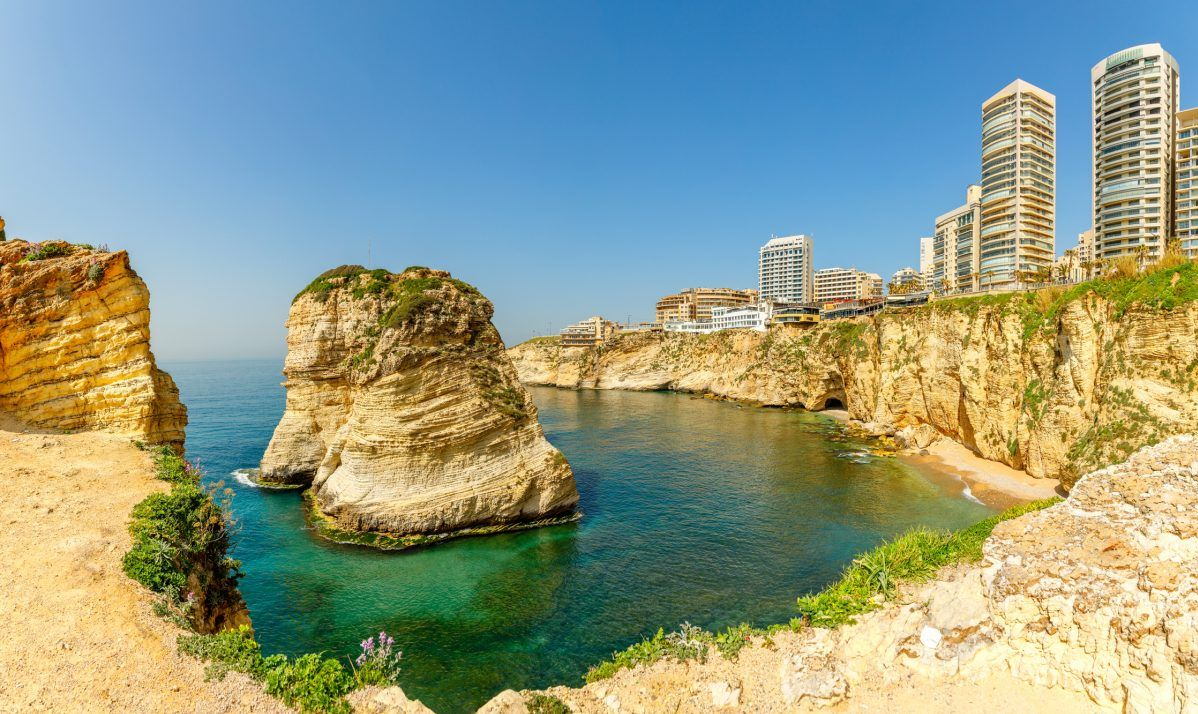 Pigeon Rocks off the coast of Beirut.