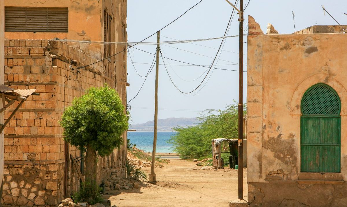 A view of Massawa with the Red Sea in the distance.