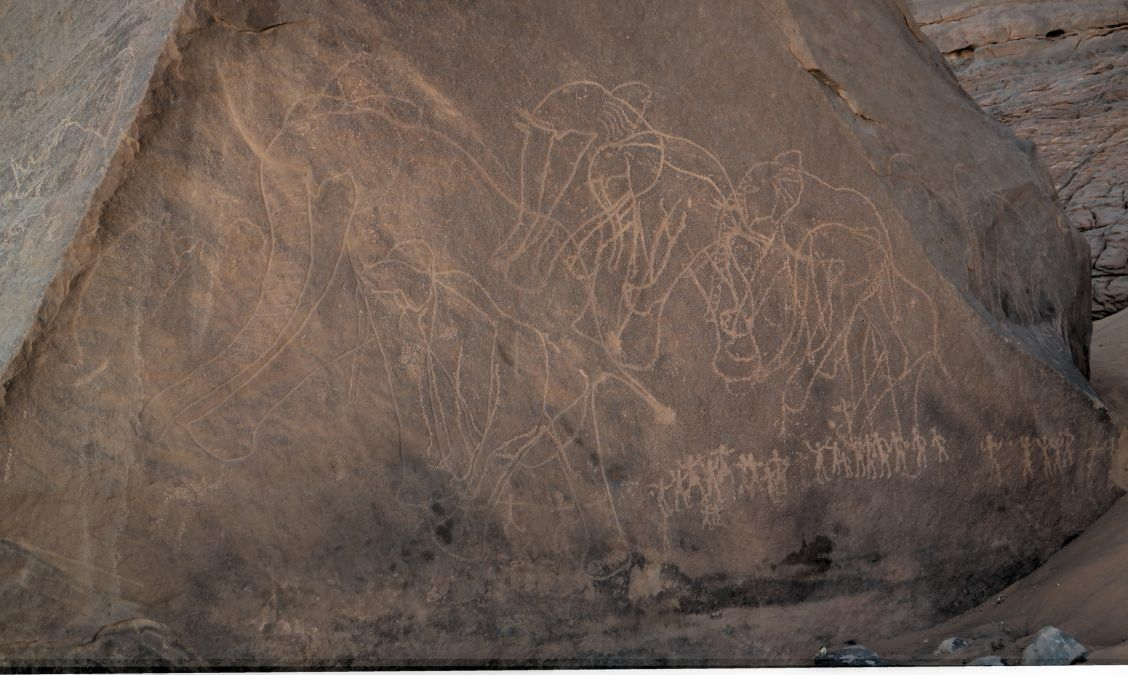 Prehistoric cave paintings found in the Acacus Mountains.