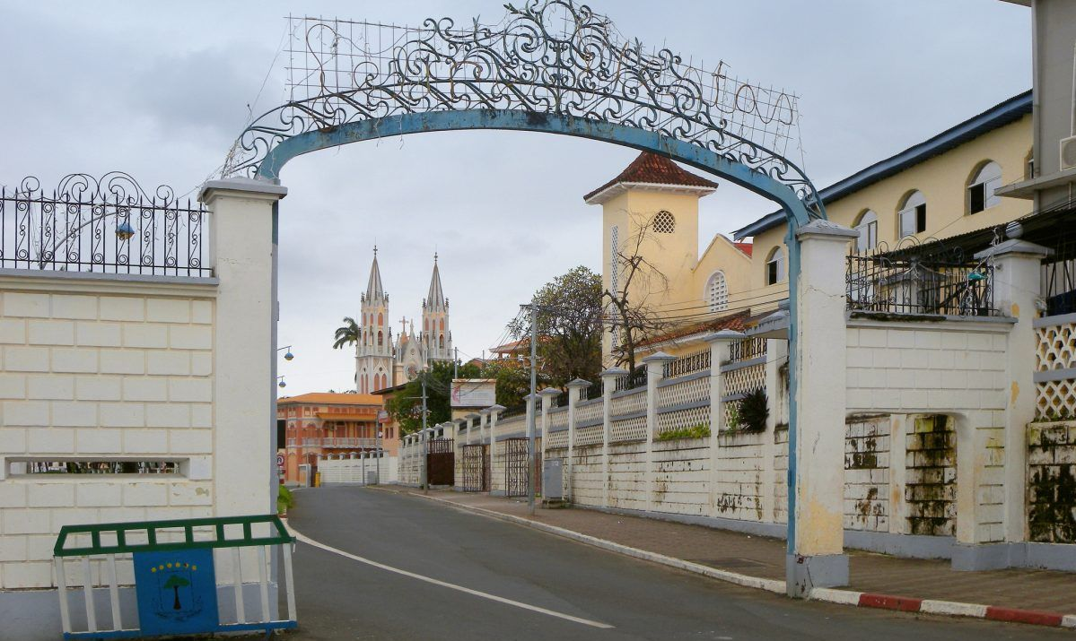 Old town gate, Malabo, Equatorial Guinea - stock photo