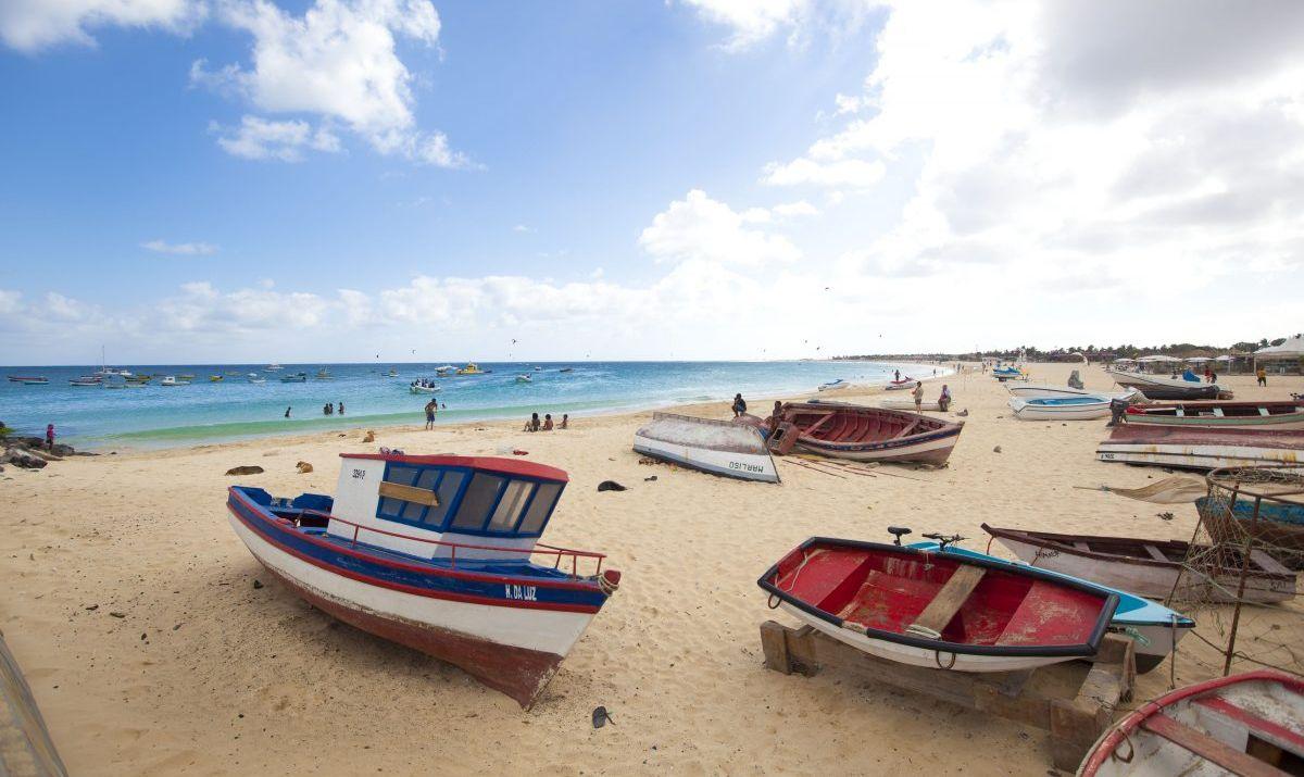 Fishing boats on Santa Maria beach on Sal Island, Cabo Verde