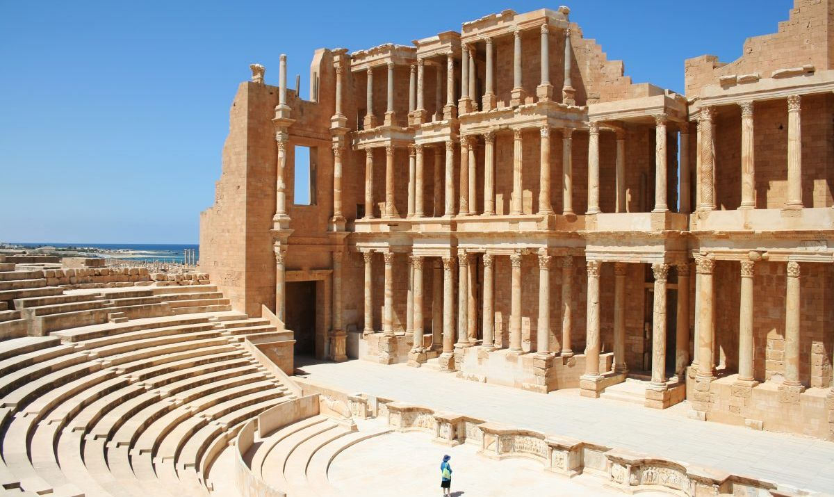 An ancient Roman theater of Sabratha.