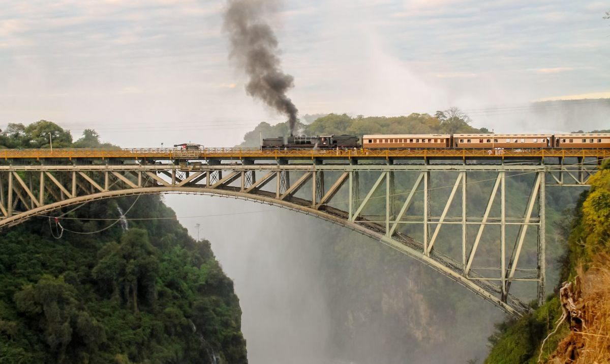 train, bridge, victoria falls, river