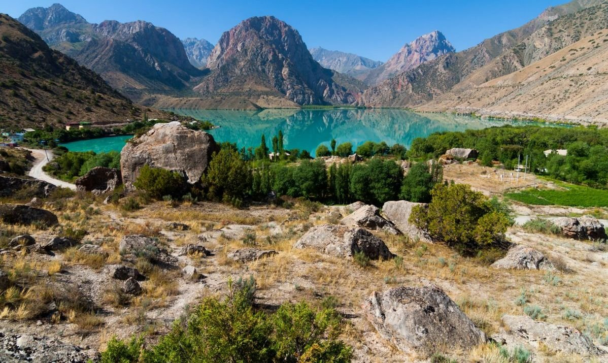 Stunning Iskanderkul Lake in the Fann Mountains of Tajikistan.