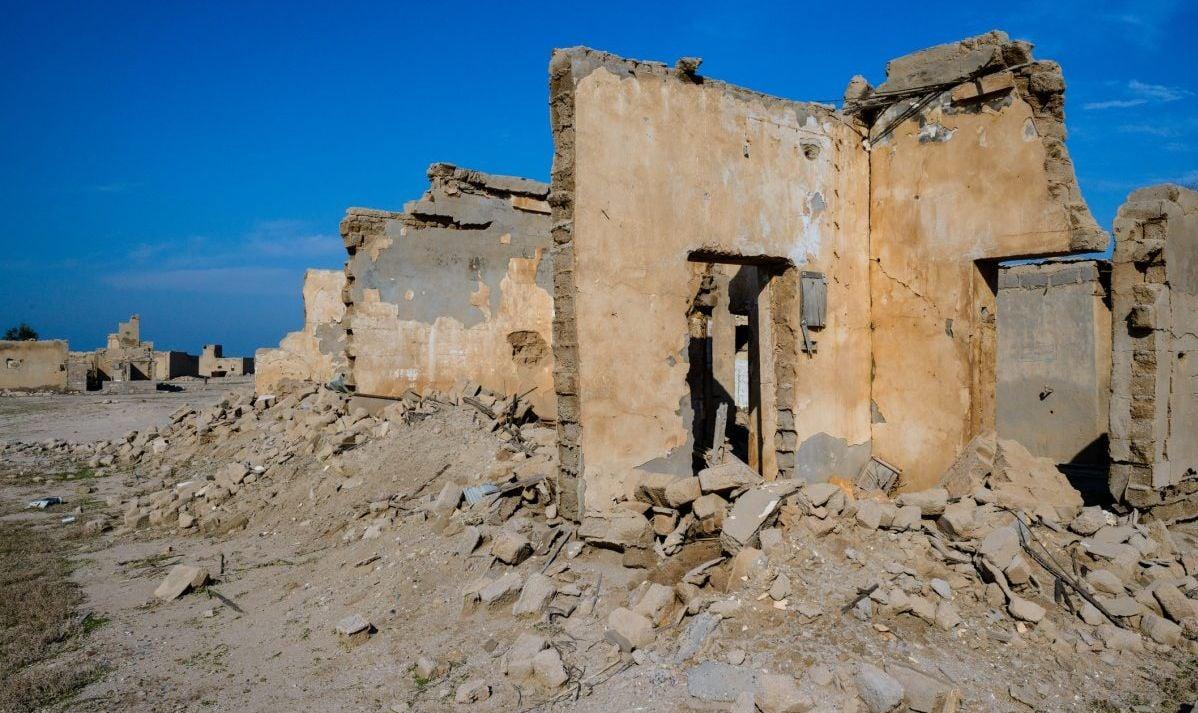 The remains of buildings on the Kuwaiti island of Failaka
