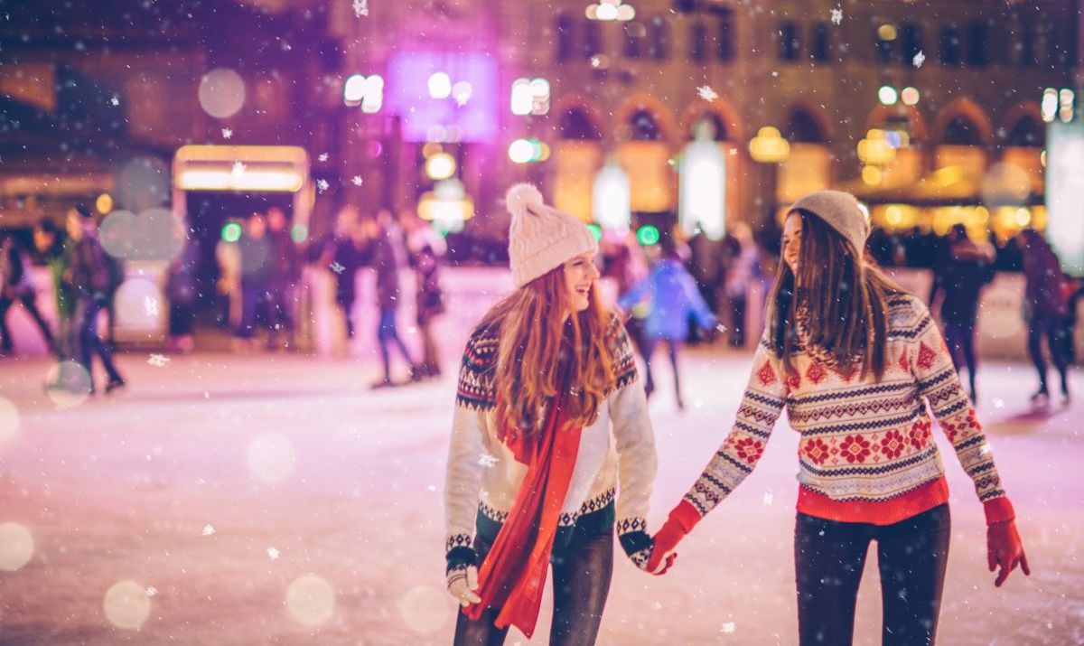 With bestie for Christmas - stock photo