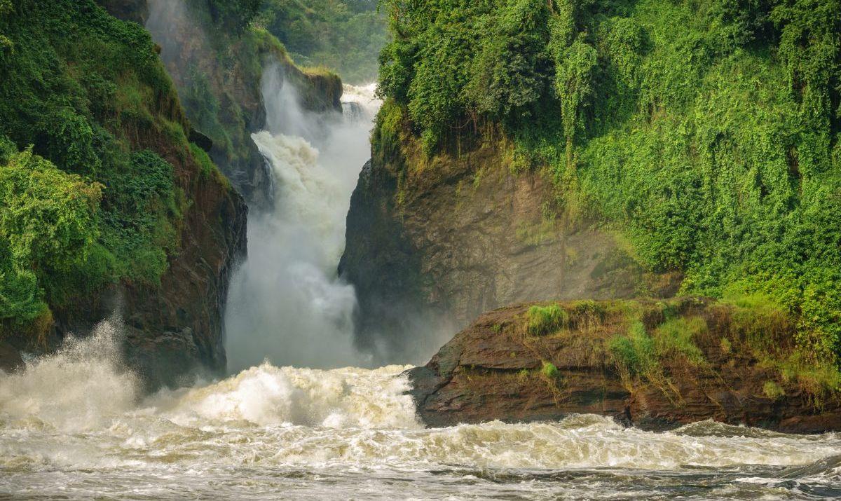 Murchison Falls in Uganda, closeup view of main fall