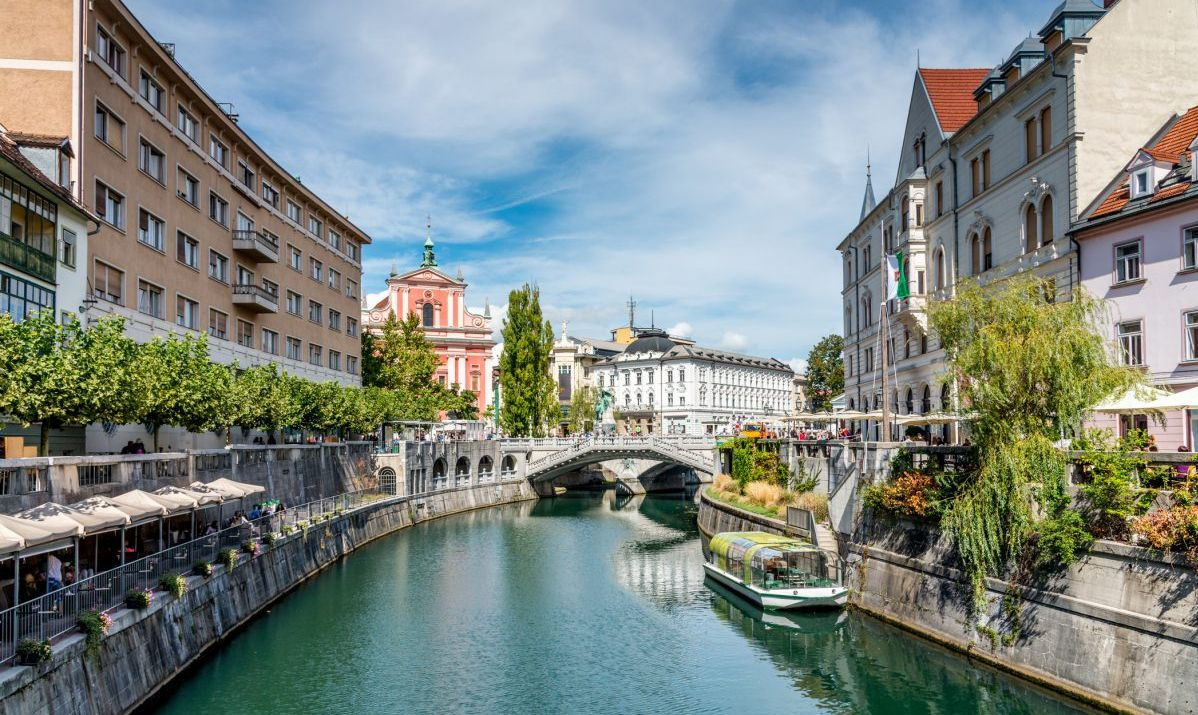 Atmospheric Old town and the famous Triple Bridge over the Ljubljana river.