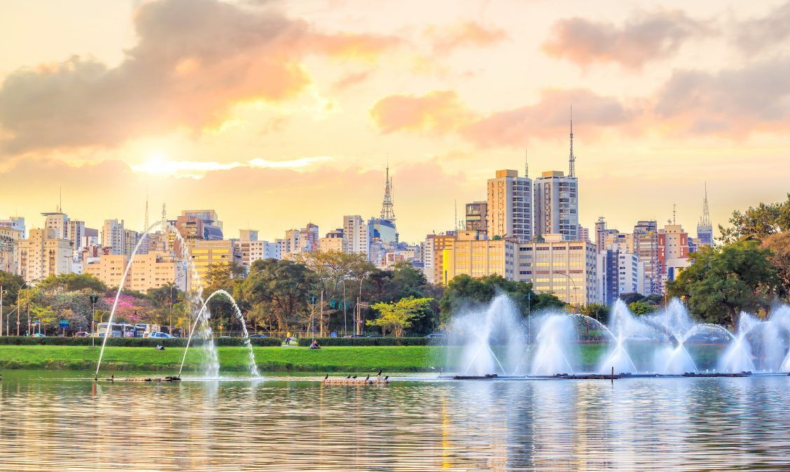 Sao Paulo skyline from Parque Ibirapuera park