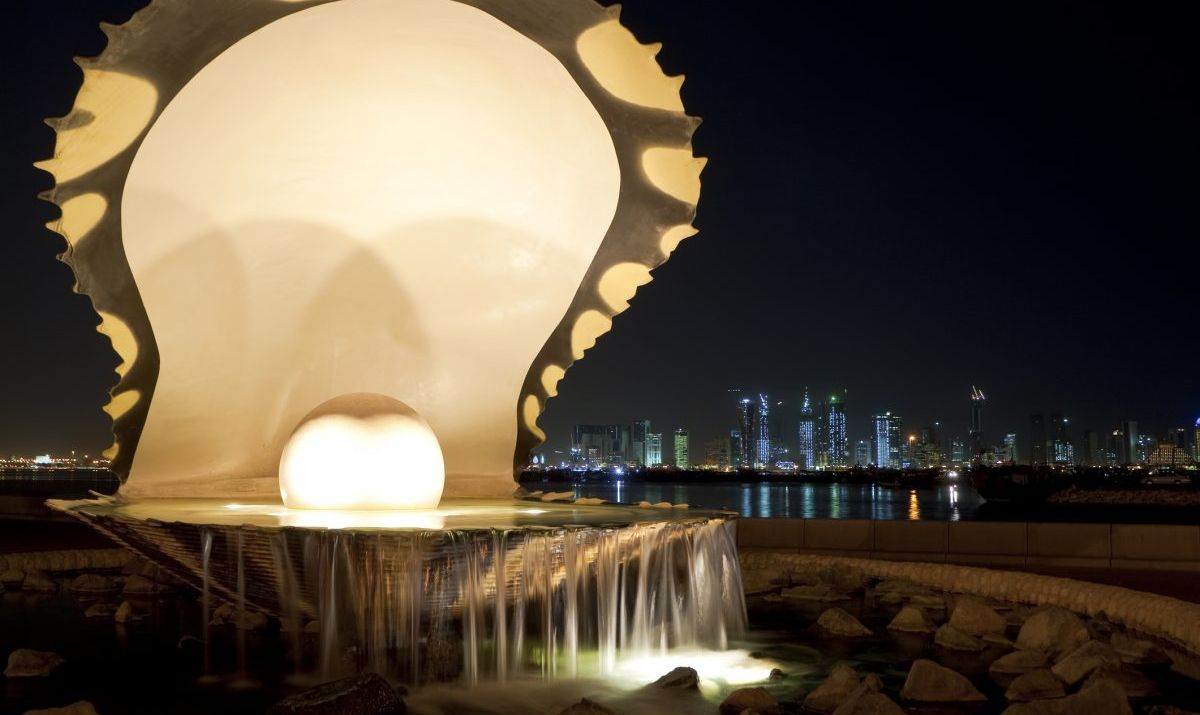 Pearl & Oyster Fountain On Corniche, Doha, Qatar at Night