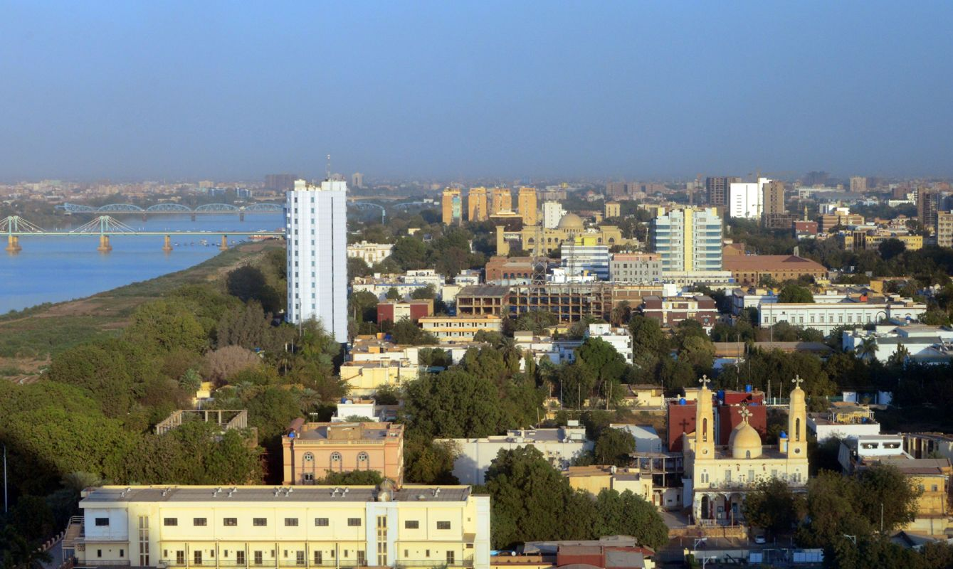 Khartoum, Sudan: skyline of the Sudanese capital - downtown area, waterfront along the Blue Nile river