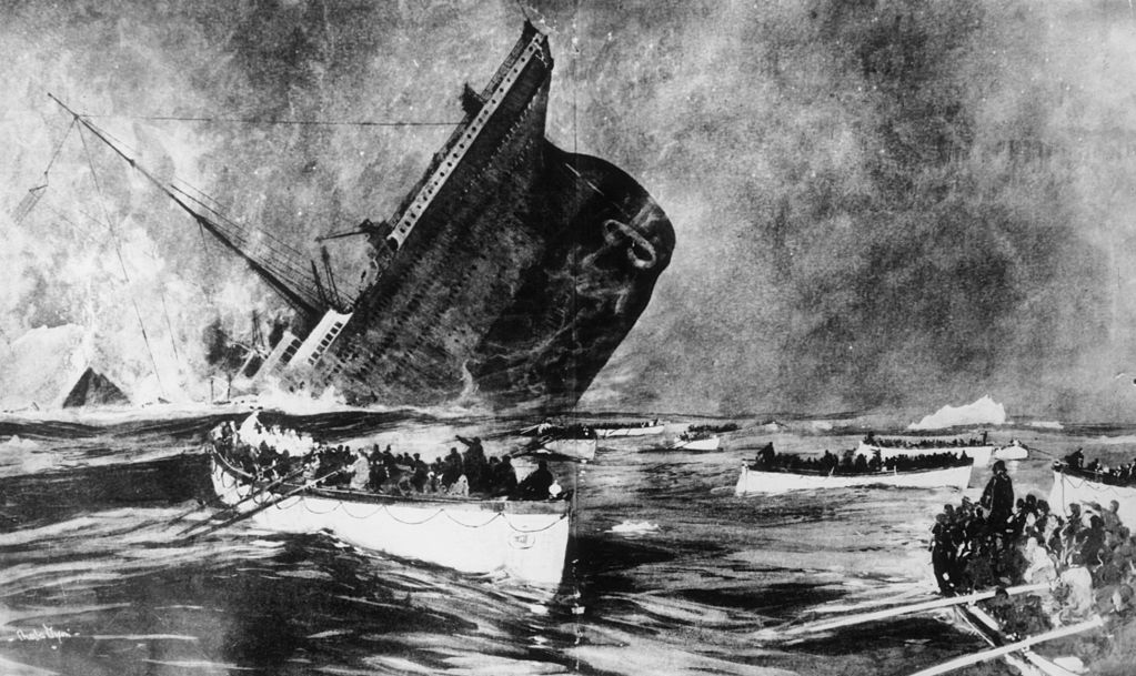 14th April 1912: Survivors watch from the lifeboats as the ill-fated White Star liner, the 'Titanic', plunges beneath the waves. Original Publication: Illustrated London News - pub. 1912 Original Publication: From a special supplement of 'Graphic'.