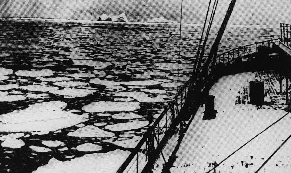 4th April 1912: Latitude 41' 46N and longitude 50' 14W, the place where the 'Titanic' sank. Original Publication: The Graphic - pub. 1912