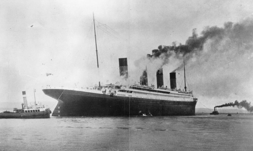 circa 1912: The ?1,500,000 luxury White Star liner 'Titanic', which sank on its maiden voyage to America in 1912, seen here on trials in Belfast Lough.