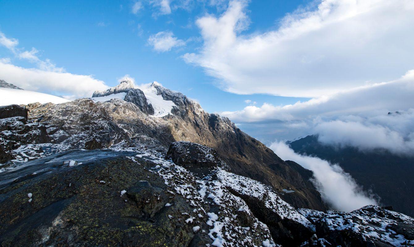 snowcapped summit of Mt. Rwenzori in Uganda, Africa