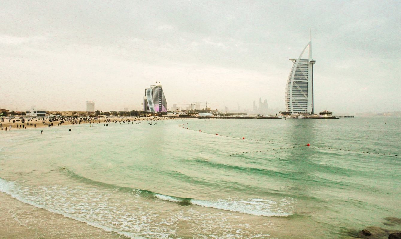 Jumeirah Beach and Burj Al Arab and Jumeirah Beach Hotel