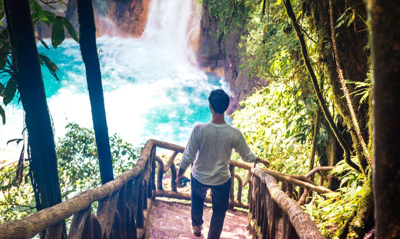 Cuban Man Traveling in Costa Rica Hikes Waterfall Rio Celeste