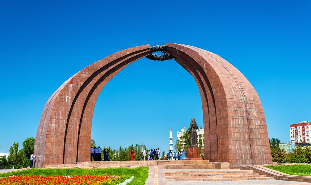 The Monument of Victory in Bishkek, the capital of Kyrgyzstan