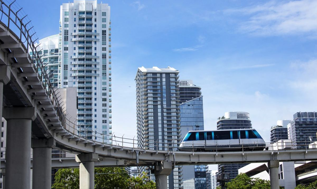 The Metromover provides free rides into and around downtown Miami.