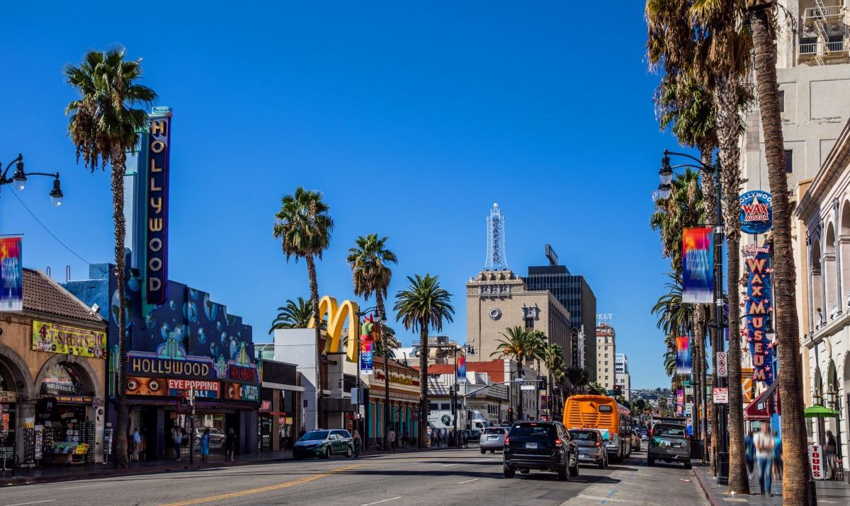 A shot of Hollywood Boulevard