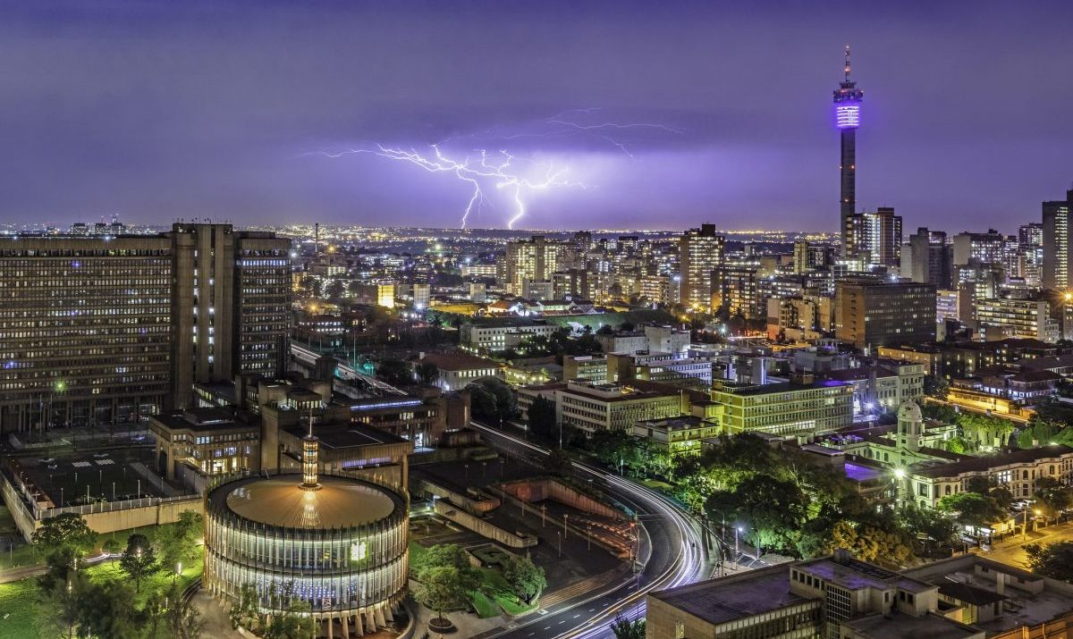 A haunting shot of Johannesburg during a thunder storm