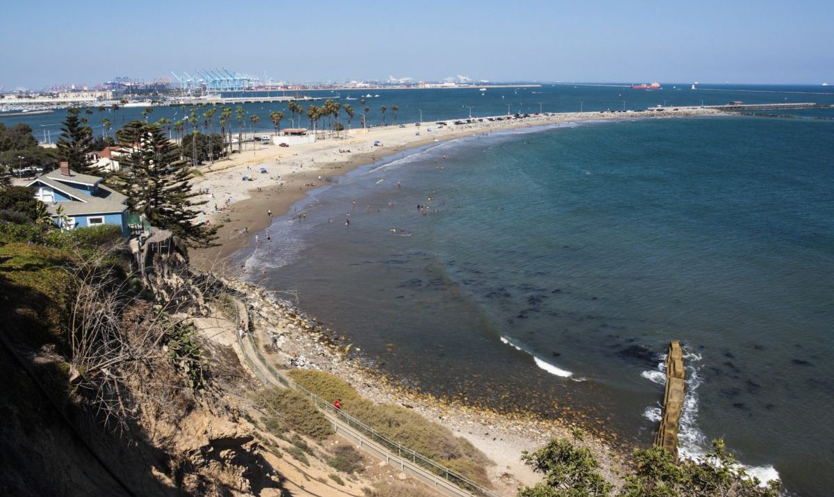 Cabrillo Beach is not as touristy as other L.A. beaches, and its pier surveys the Port of Los Angeles.