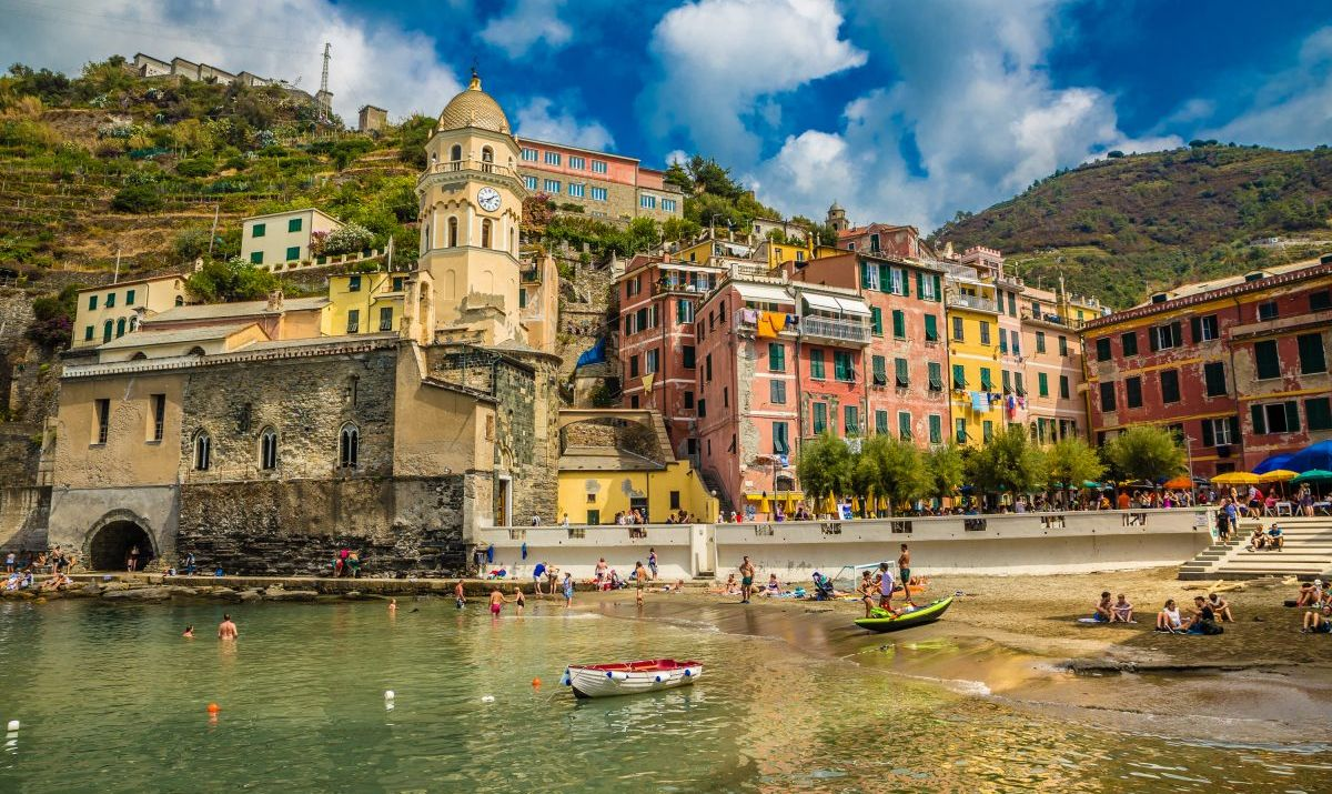 The beautiful beaches of Cinque Terre are popular during the summer season.