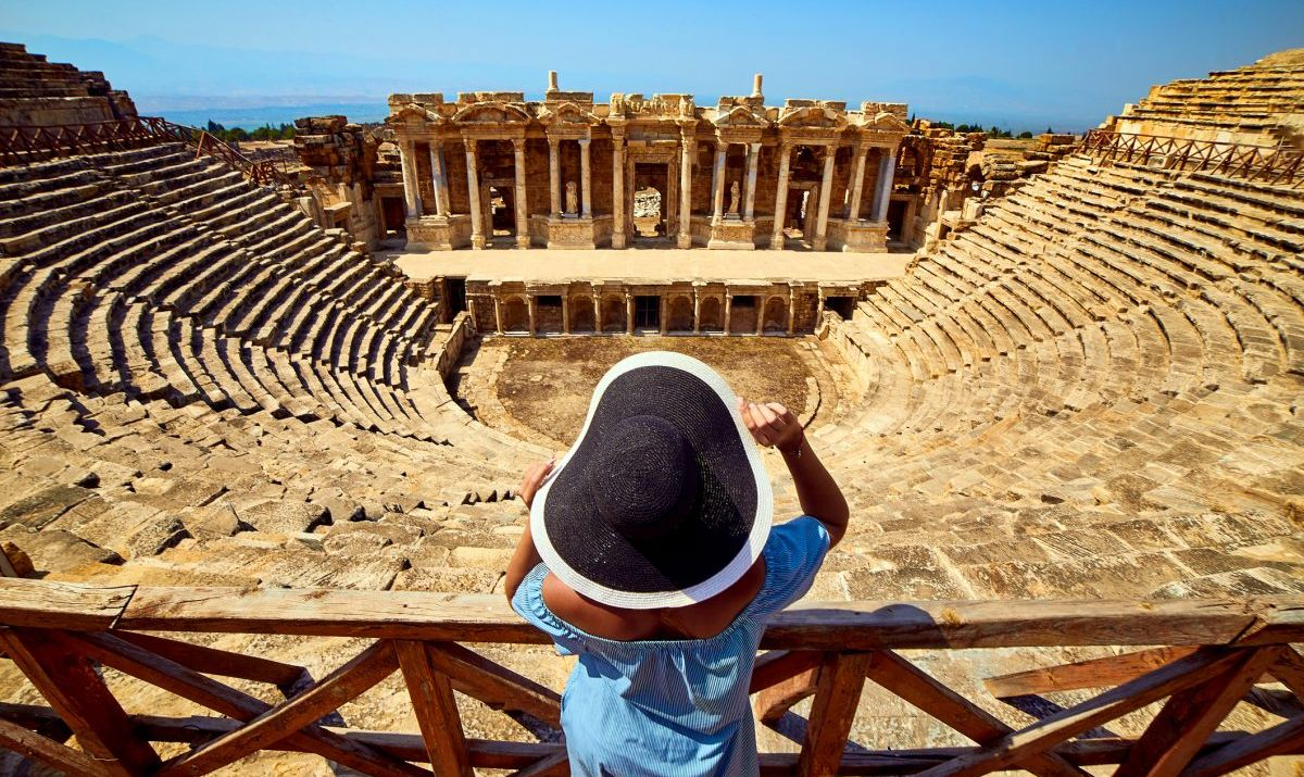 A traveler viewing the Hierapolis Amphitheater