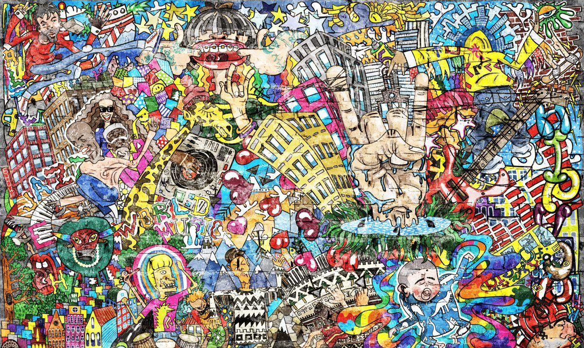 A stunning graffiti mural