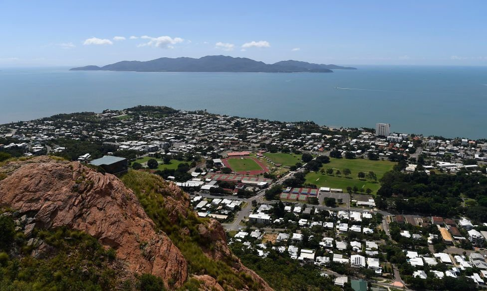 The city of Townsville with Magnetic Island off in the distance