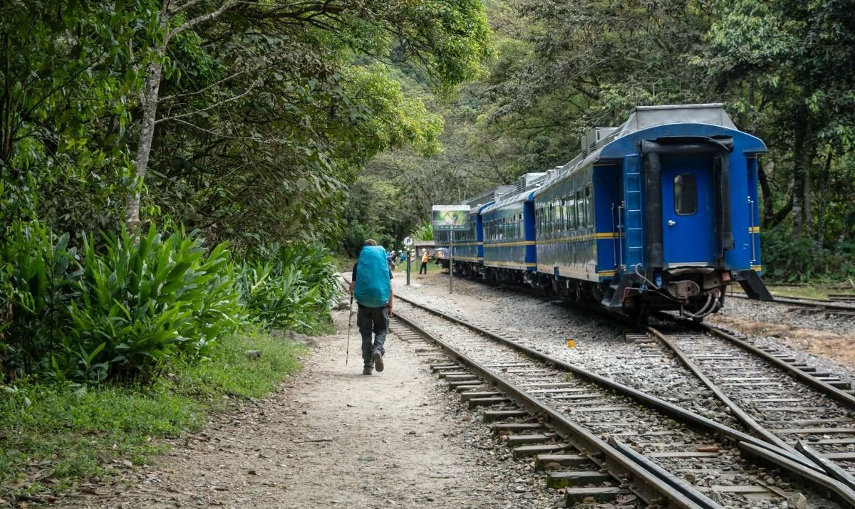 The train and hiking trail to Machu Picchu cut through the lush forests of Peru.