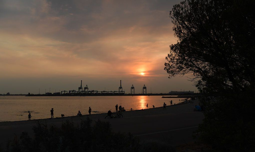 The Australian sunset over Port Melbourne