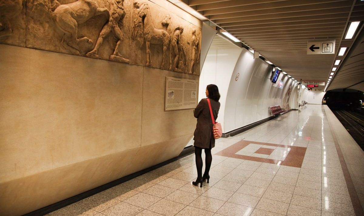 A woman admiring an underground gallery