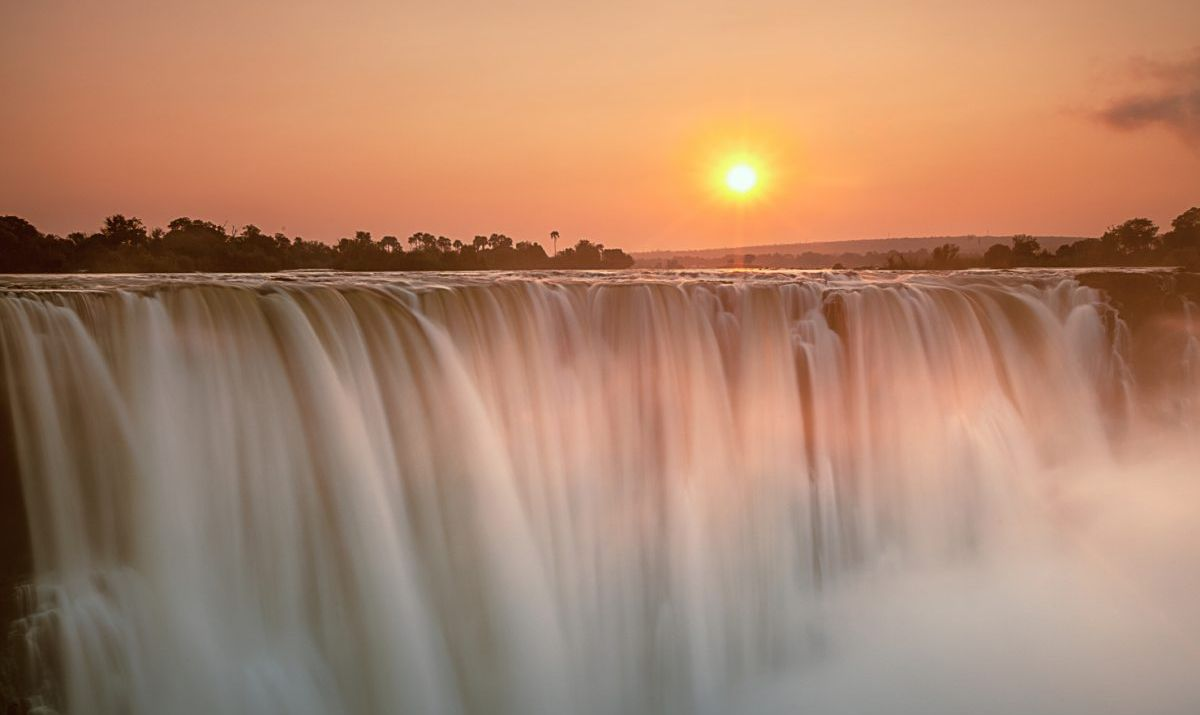 View of Victoria Falls at sunrise in Zimbabwe